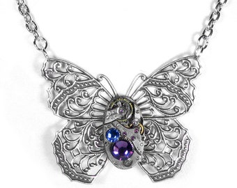 Steampunk Jewelry Womens Necklace Vintage Watch Victorian Silver Filigree BUTTERFLY Lilac Rose Crystals Gift - Jewelry by Steampunk Boutique