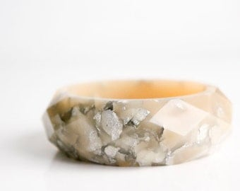 geometric jewelry silver rose multifaceted eco resin bangle with metallic silver flakes