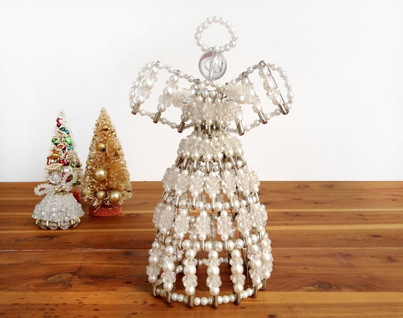 Vintage Safety Pin And Beaded Angel Tree Topper Christmas