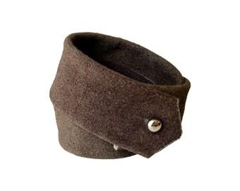 Distressed Leather Bracelet Cuff, Double Wrap Bracelet, Layered Leather Cuff, Upcycled Leather Brown Suede Leather, Men Women, custom made