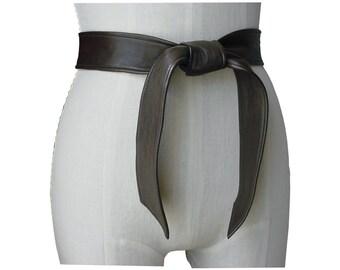Classic belt - Soft Leather Coat Belt - Dark Chocolate Brown Leather Tie Belt - Basic belt - Coat belt - Replacement belt - made to order