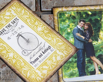 Nostalgic Nuptials photo Save the Date. Vintage bicycle save the date. Flapper save the date. 1920s save the date
