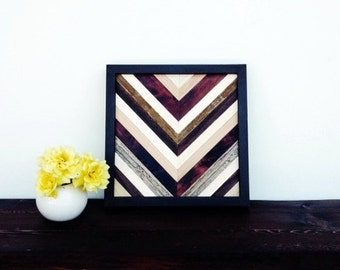 Wood Wall Art -  Chevron Reclaimed Wood Wall art 12X12