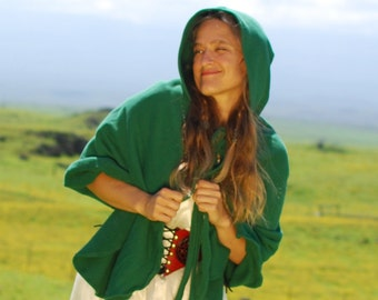 Costume - Emerald Green Pixie Cape - Elven Cloak - Organic Cotton -  Eco Friendly - Organic Clothing