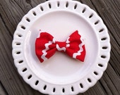 Fabric Bow Clip - Red & White Zigzag