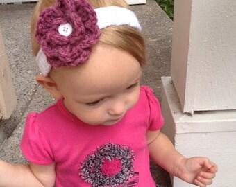 Toddler flower knit headband