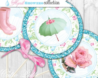 """April Showers Party Printable 4"""" Themed Party Circles by Cutie Putti Paperie"""
