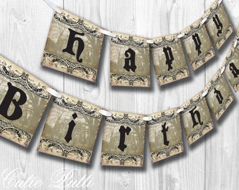 Haunted Mansion Party, Halloween Party, Haunted House Party - PRINTABLE BIRTHDAY BANNER  - Cutie Putti Paperie