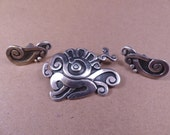 Vintage Francisco Rivera Taxco Sterling Brooch and Earrings Set