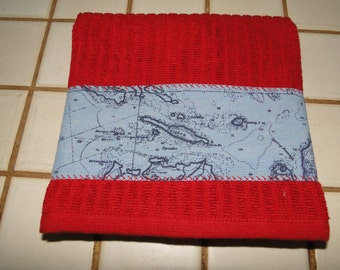 Nautical Kitchen Towel - Dark Red with Recycled  Blue Nautical Map Fabric Trim