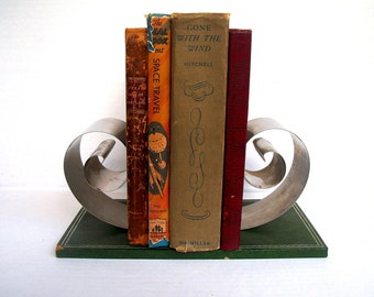 Vintage Art Deco Coiled Bookend on Leather Base