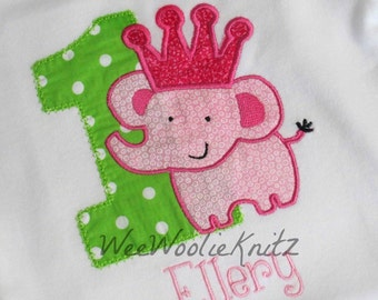 Grils Princess Elephant Birthday Shirt Personalized Embroidered Applique Circus Zoo 1st 2nd 3rd