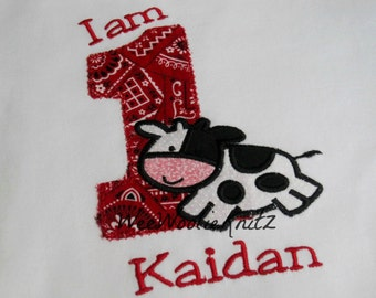 Boys Cow Birthday Shirt  or Bib Applique Personalized  LONG or SHORT Sleeve Tee 1st 2nd 3rd 4th Tshirt  Children