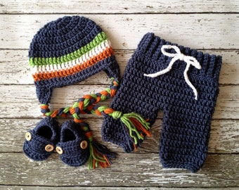 Stripe Beanie in Denim Blue, Orange and Green with Matching Baby Pants and Booties Available in Newborn to 6 Month Size- MADE TO ORDER
