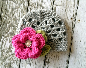 The Sofia Flower Beanie in Gray, Hot Pink and Celery Green Available in Newborn to Tween Size- MADE TO ORDER