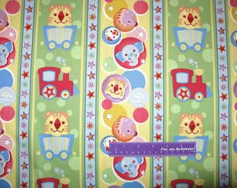 "Baby Ringling Brothers Circus Dots Clown Stripe Cotton Fabric REMNANT 13"" x 43"""