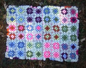 VINTAGE Baby Blanket - Crochet - Multicolor - Stroller Blanket - Ruffles