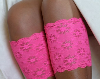 Lace Boot Cuffs, Faux Leg Warmers, or Boot Toppers  for Women and Teens in Bright Pink .  Ready to ship.