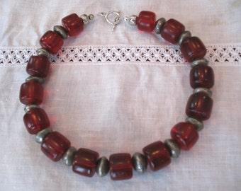 Old Bohemian Red glass beads with African coin silver spacers Necklace