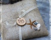 Beach Wedding Ring Bearer Pillow - Rustic Burlap Beach Destination Weddings - Country Nautical Wedding - Starfish Seashell Resort Unique