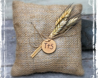 Wheat And Burlap Ring Bearers Pillow - Rustic Country Wedding - Southern Weddings - Barn, Western, Farmstead - Fall Autumn - Shabby Chic