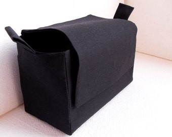Bag organizer  with magnetic snap Flap closure - Purse organizer insert in  Rich Black fabric