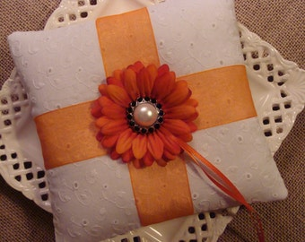 Wedding Ring Bearer Pillow - Orange Gerbera Daisy on White Cotton Eyelet