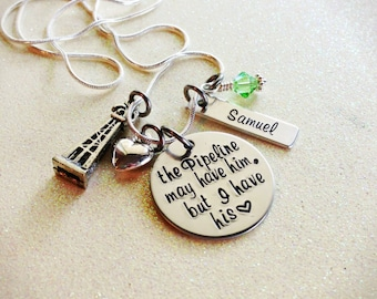 Custom Hand Stamped Pipeline Wife or Girlfriend Necklace