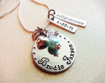 Gorgeous vintage hand stamped baby and child necklace, Custom, New Mom