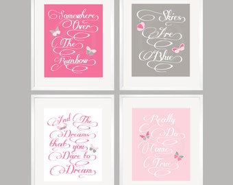 Kids wall art, Somewhere Over The Rainbow Pink And Gray Butterfly Art Prints 8x10 Custom Colors by YassisPlace