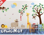 Nursery Wall Stickers with Elephants  - Giraffes, Lion, Birds and Monkeys on the Tree with - PLMG050