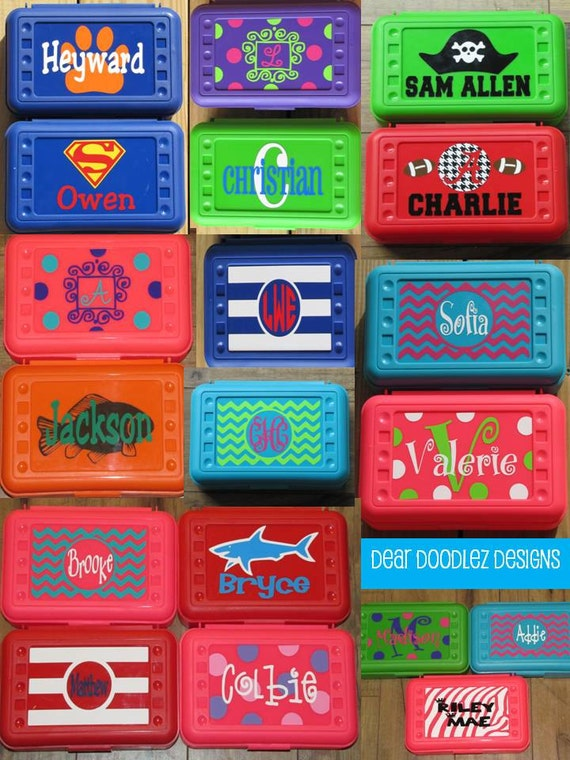 2 Back To School Personalized Pencil Box And Art Supply Box