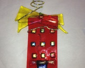 Red House Ornament - Fused Glass in Yellow -Red - Dichro