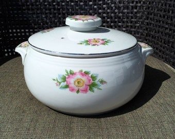 Antique Halls Pottery USA Rose White Flower Casserole Dish or Vegetable Bowl with Lid