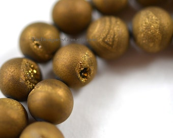 Metallic Gold Coated Agate Druzy Smooth Round 10mm - 1/2 STRAND