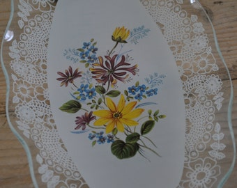 Vintage shabby chic glass tray - floral sandwich tray plate