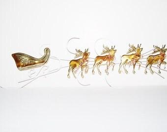 Vintage Deer with Sleigh Metal Wall Hanging