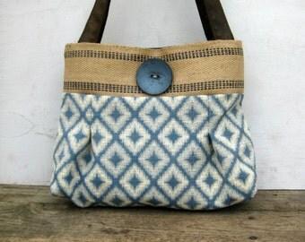 Ivory and Blue Handbag Purse Everyday bag : Diamonds in the rough