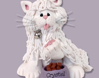 White Persian KITTY CAT HANDMADE Polymer Clay Personalized Christmas Ornament