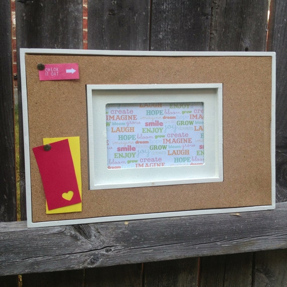 Items similar to cork board picture frame bulletin board for Picture frame organization wall
