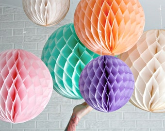 paper party decor ... honeycomb lantern ... candy table buffet tablescape // weddings // birthday party // baby shower // nursery // spring
