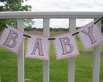 BABY Girl Pink and Black Damask Pregnancy or Newborn Photo Prop Banner Ready to Ship
