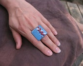 Blue statement ring - big square ring - cocktail enamel ring - blue aqua red white adjustable - artisan jewelry OOAK by Alery