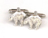 Steampunk - POLAR BEAR - Men's Cufflinks Cuff Links - Antique Silver - By GlazedBlackCherry