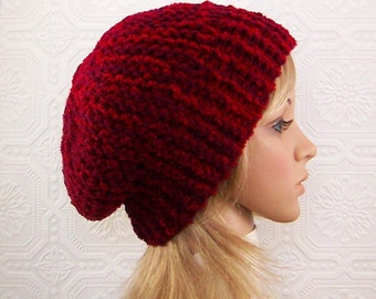 Knit slouch hat - wine, cranberry mix color - women's accessories, Winter Fashion, gift for her Sandy Coastal Designs - ready to ship