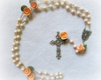 Handmade Clay Rosary--Light Peach