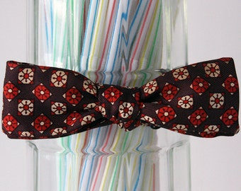 SALE! 25%OFF original price.. Brown and Orange Floral Kaleidoscope Self Tie Bow Tie