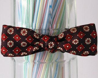 SALE! 25%OFF original price.. Brown and Orange Floral Kaleidoscope Self Tie Bow Tie