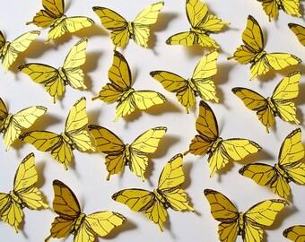 25 Bright Yellow Elegant Butterfly scrapbook embellishments  - No1007