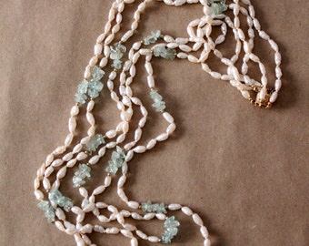 vintage pearl necklace, long pearl strands with blue stones